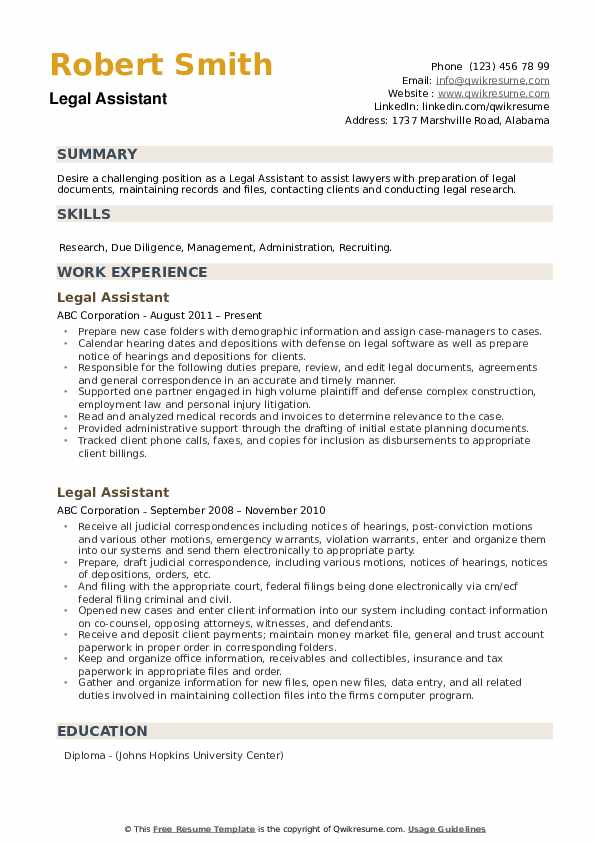 legal assistant resume samples