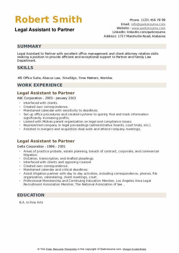 Legal Assistant to Partner Resume example
