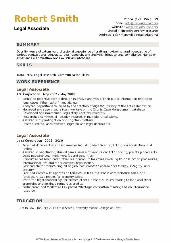 Legal Associate Resume example