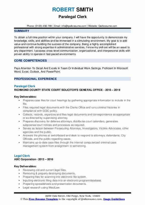 Paralegal Clerk Resume Model