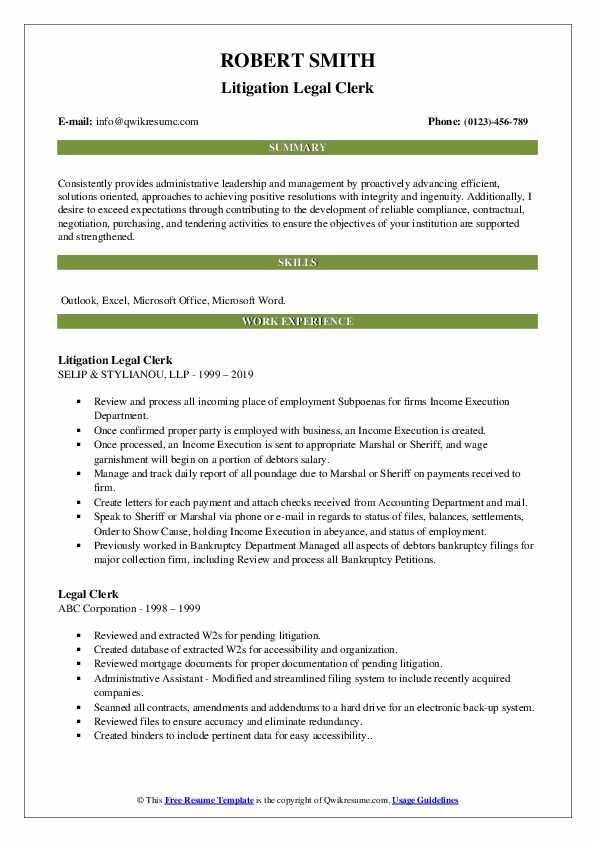 Litigation Legal Clerk Resume Template