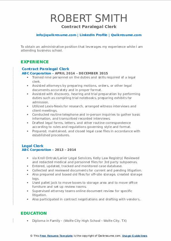 Contract Paralegal Clerk Resume Template
