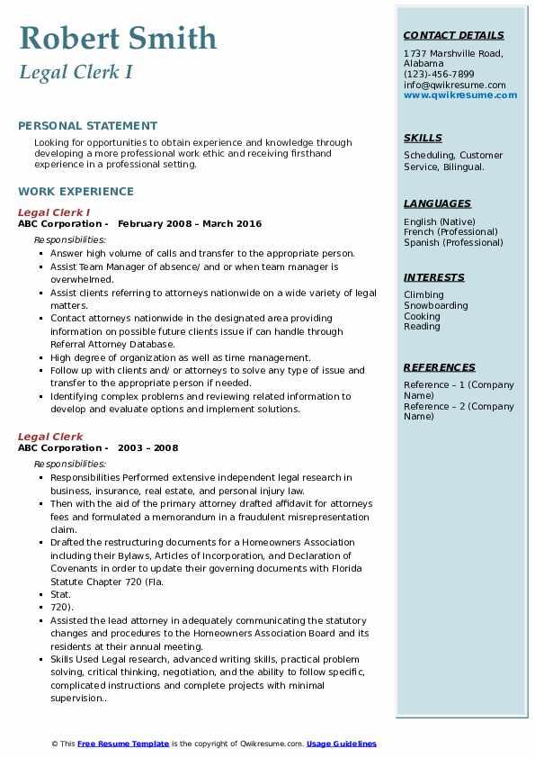 Legal Clerk I Resume Model