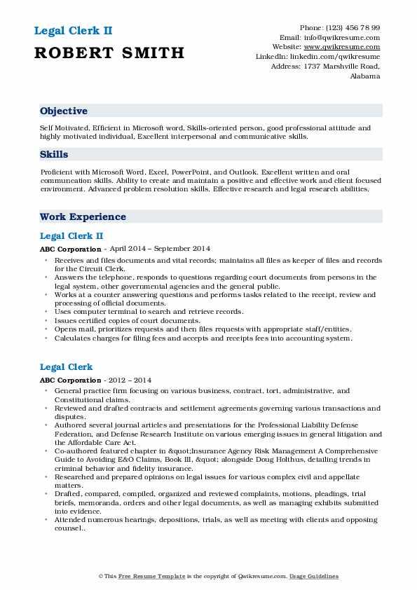 Legal Clerk II Resume Example