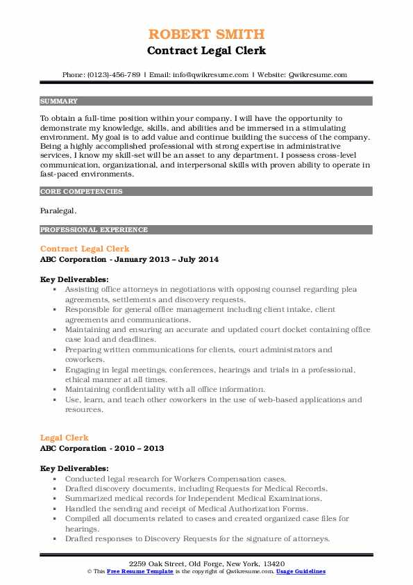 Contract Legal Clerk Resume Sample