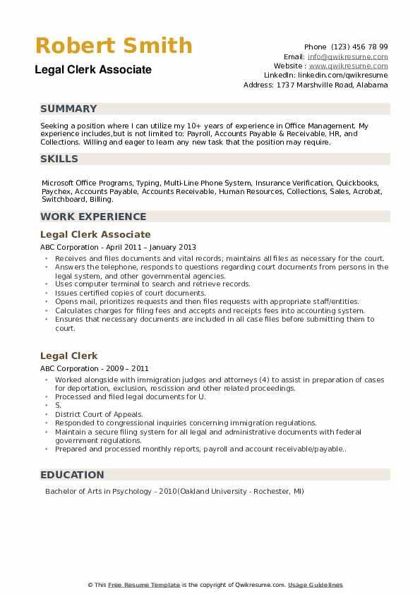 Legal Clerk Associate Resume Model