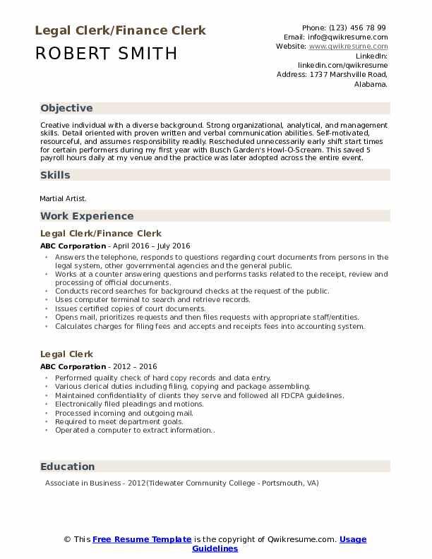 Legal Clerk/Finance Clerk Resume Sample