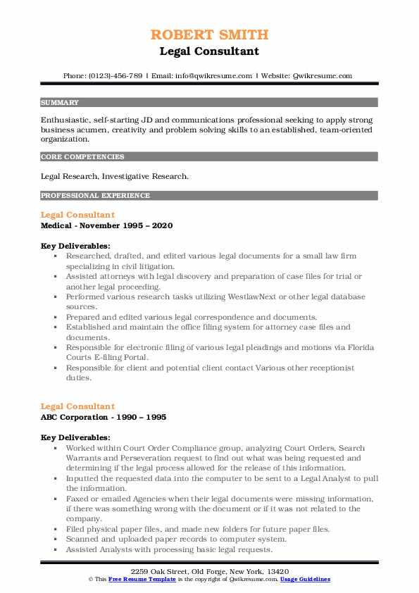 Legal Consultant Resume example