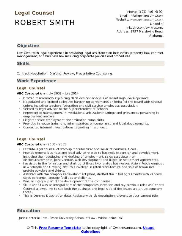 Legal Counsel Resume example