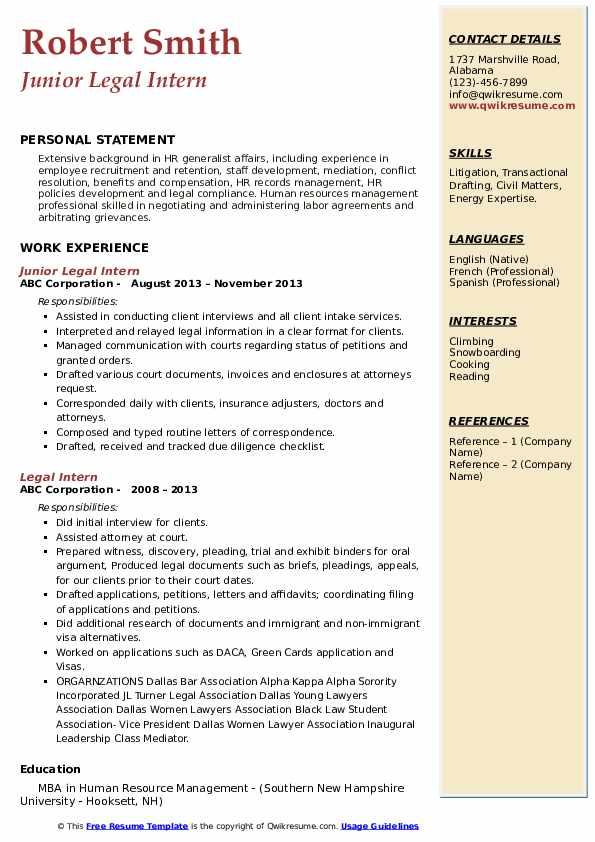 legal intern resume samples