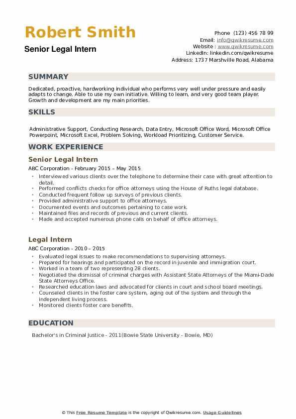 legal intern resume samples  qwikresume