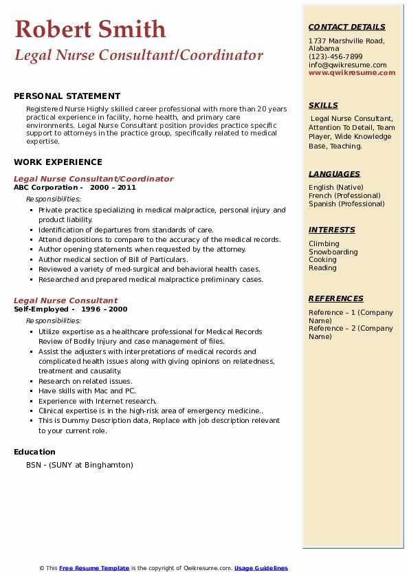 Legal Nurse Consultant Resume Samples | QwikResume