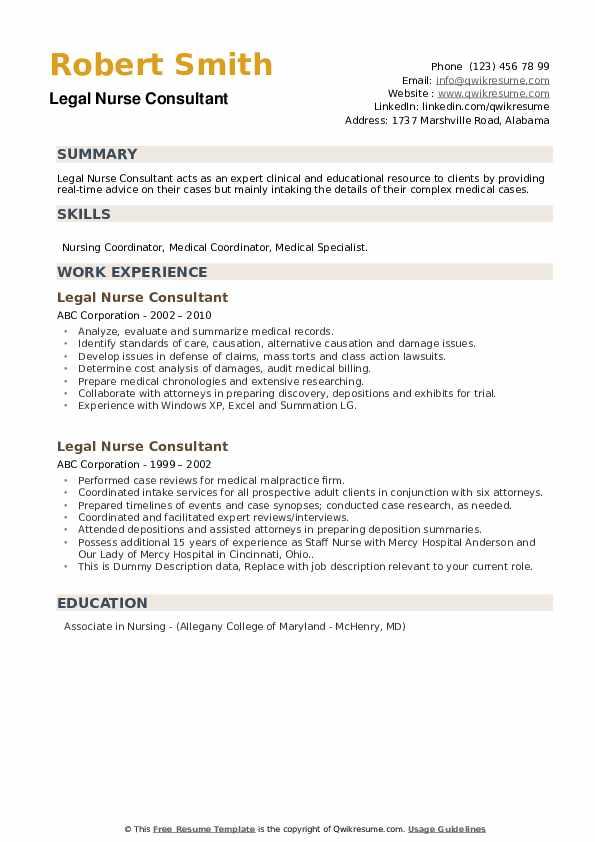 Legal Nurse Consultant Resume example