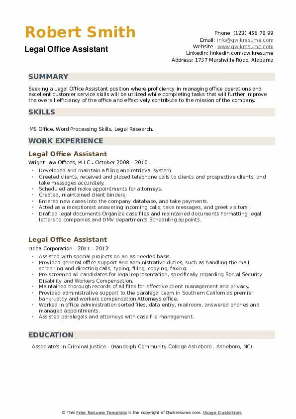 Legal Office Assistant Resume example