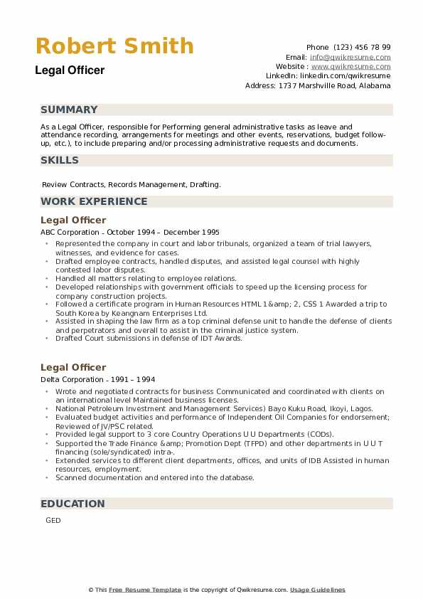 Legal Officer Resume example
