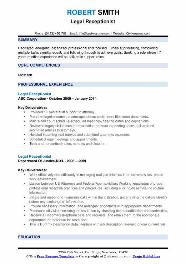Legal Receptionist Resume example