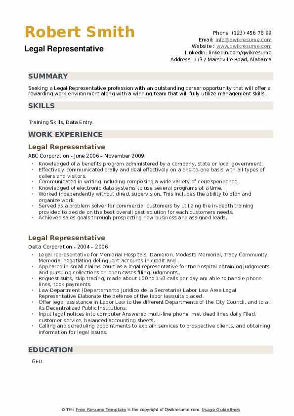 Legal Representative Resume example