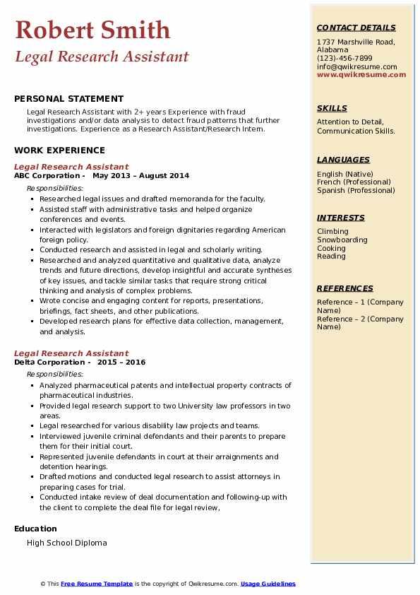 legal researcher resume
