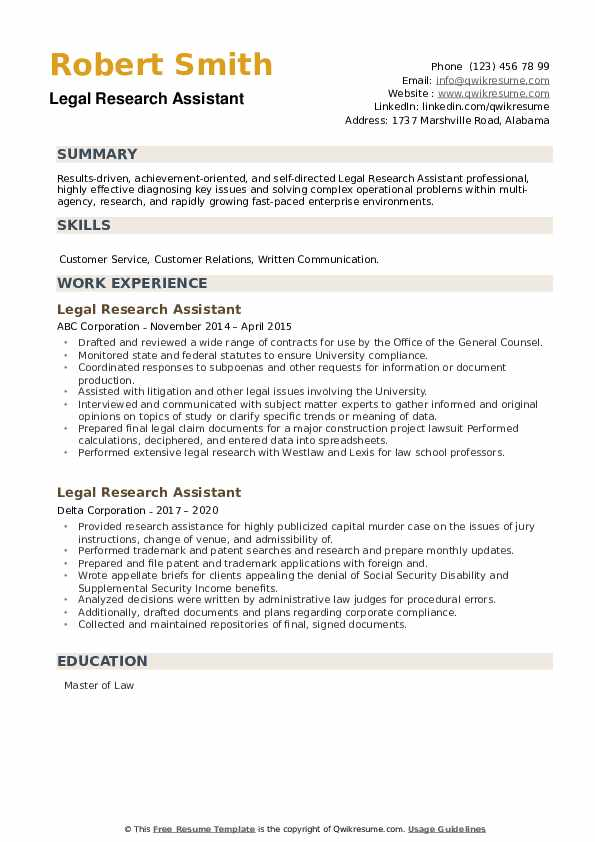 Legal Research Assistant Resume example