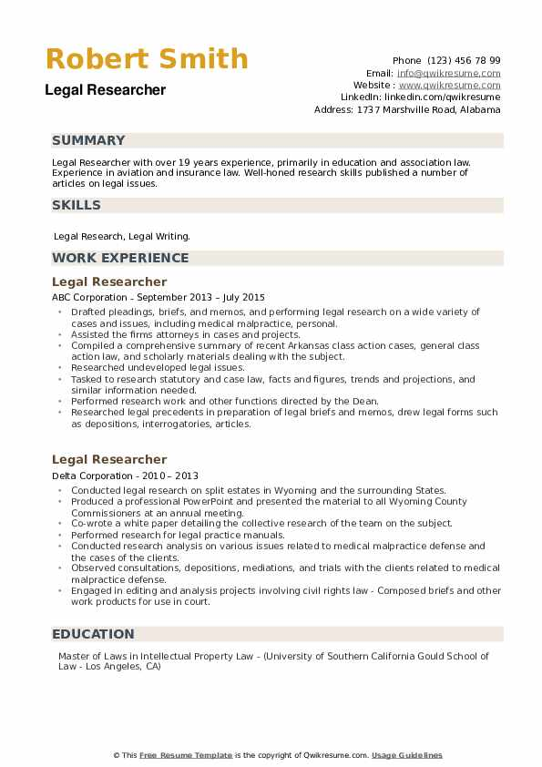 Legal Researcher Resume example