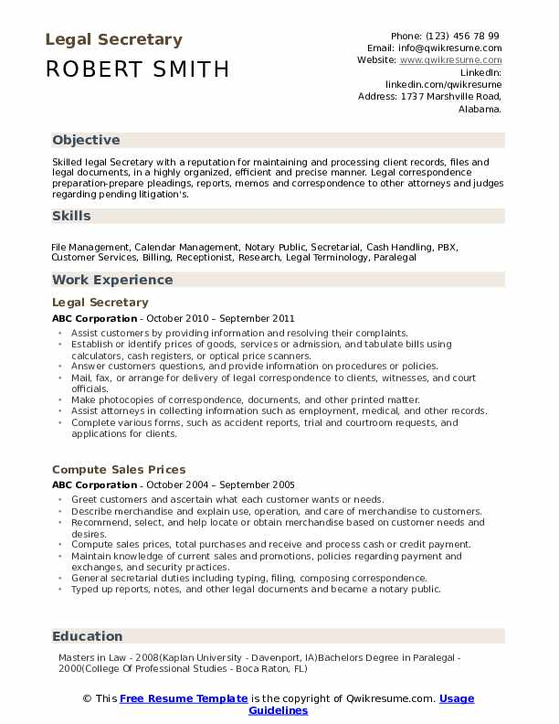 Legal Secretary Resume Example