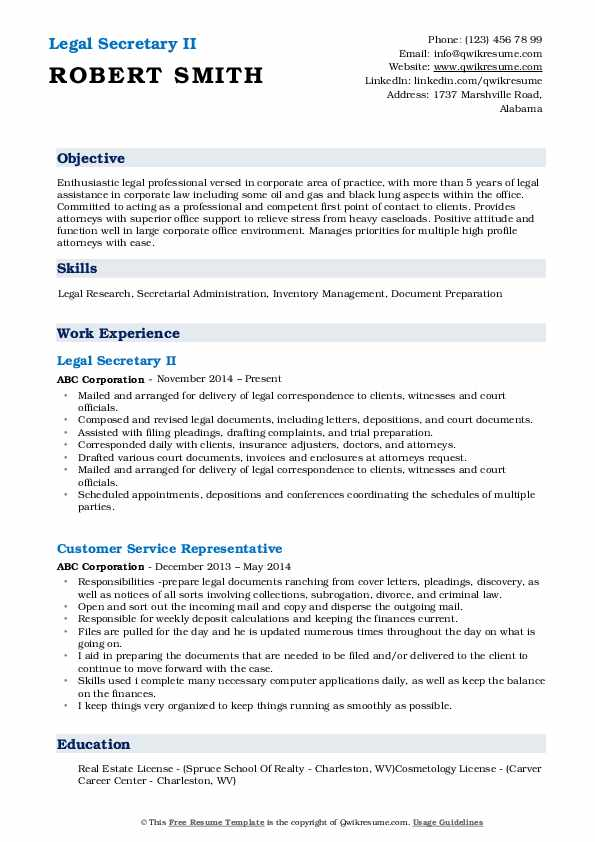 Legal Secretary II Resume Model