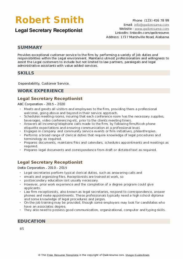 Legal Secretary Receptionist Resume example