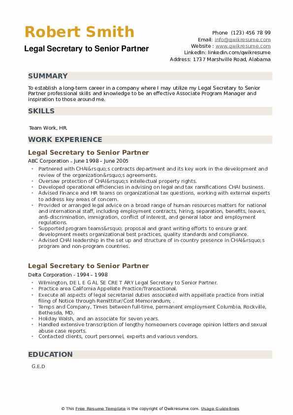 Legal Secretary to Senior Partner Resume example