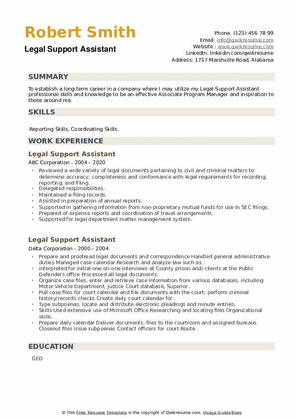 Legal Support Assistant Resume example