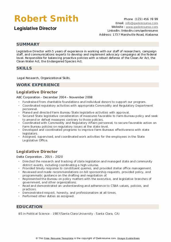 Legislative Director Resume example