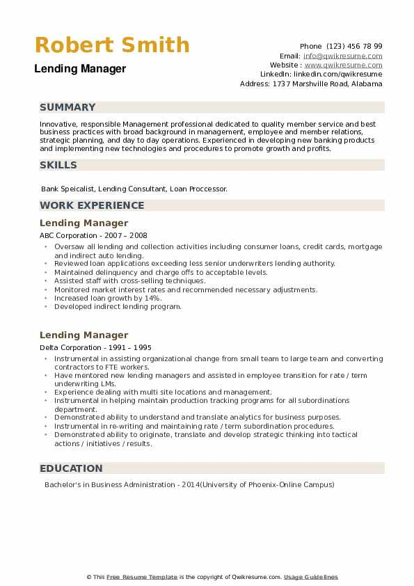 Lending Manager Resume example