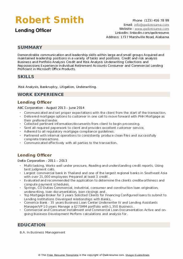 Lending Officer Resume example