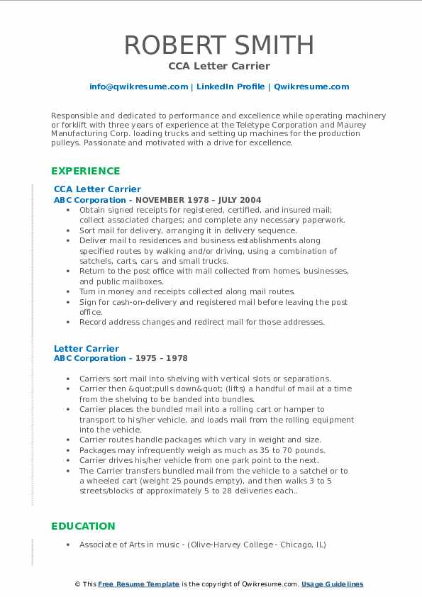 CCA Letter Carrier Resume Model