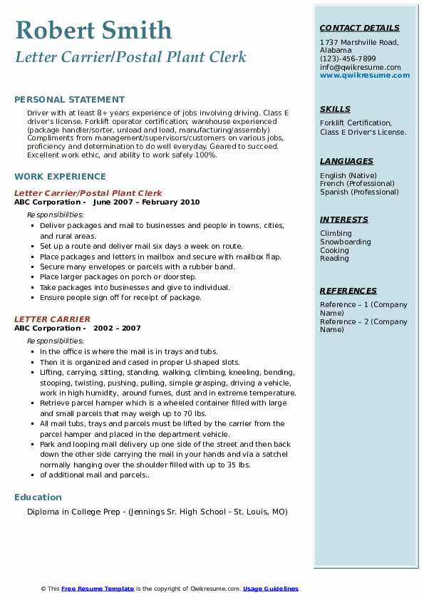Letter Carrier/Postal Plant Clerk Resume Format