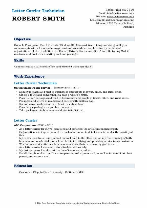 Letter Carrier Technician  Resume Template