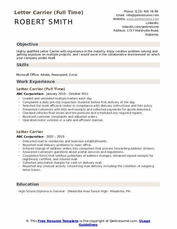 Letter Carrier (Full Time) Resume Sample