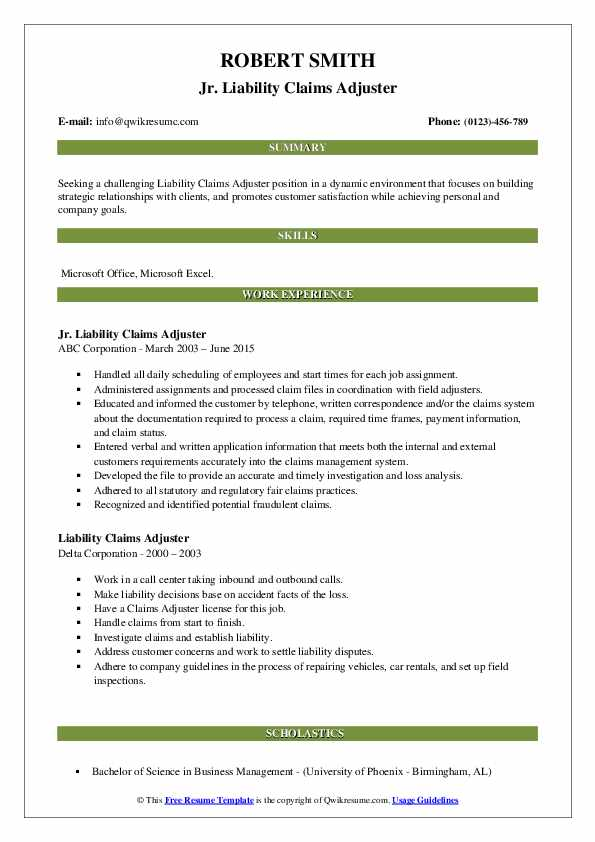 liability claims adjuster resume samples