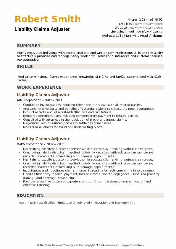 Liability Claims Adjuster Resume example