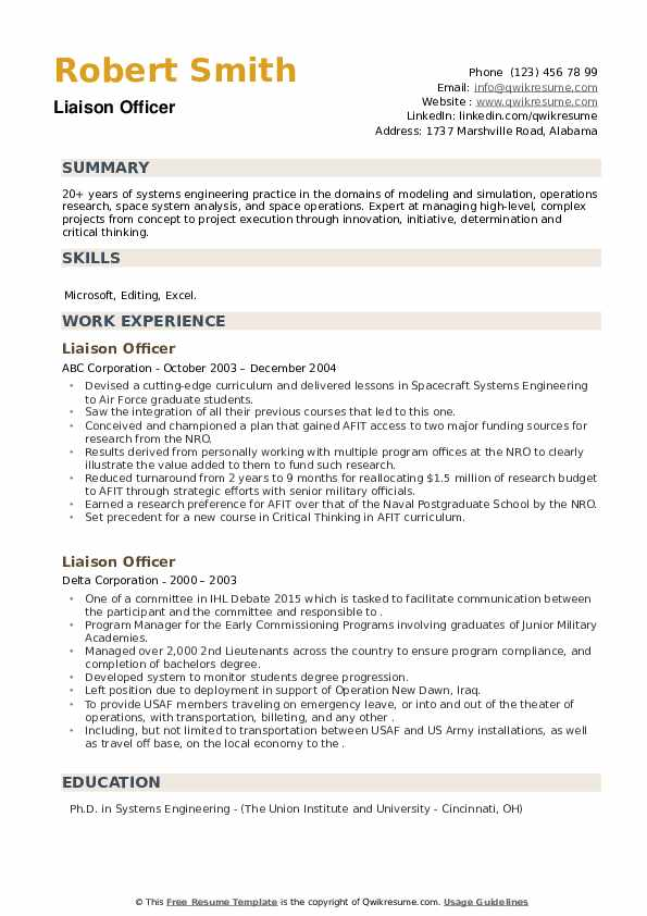 Liaison Officer Resume example