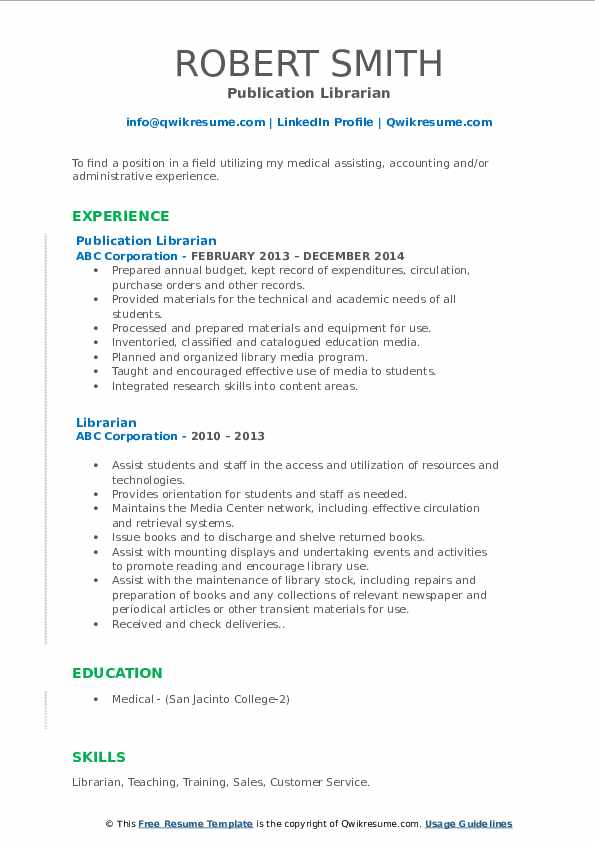 Publication Librarian Resume Format