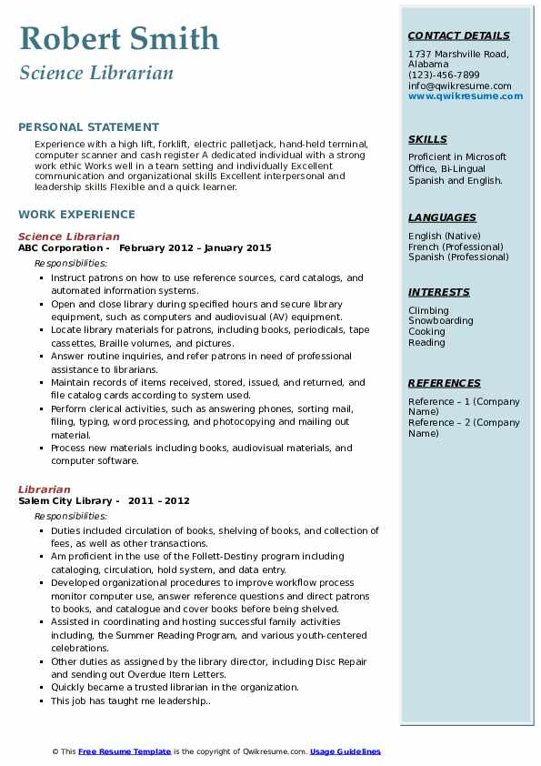 Science Librarian Resume Sample