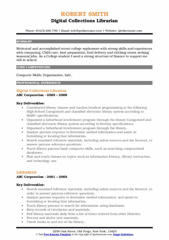 Digital Collections Librarian Resume Example