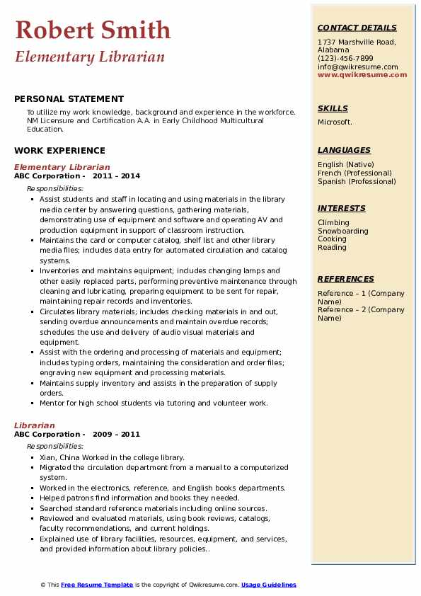 Elementary Librarian Resume Example
