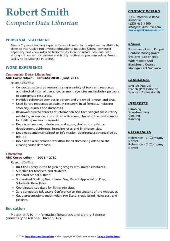 Lead Assistant Librarian Resume Sample
