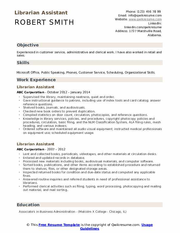 Librarian Assistant Resume Model
