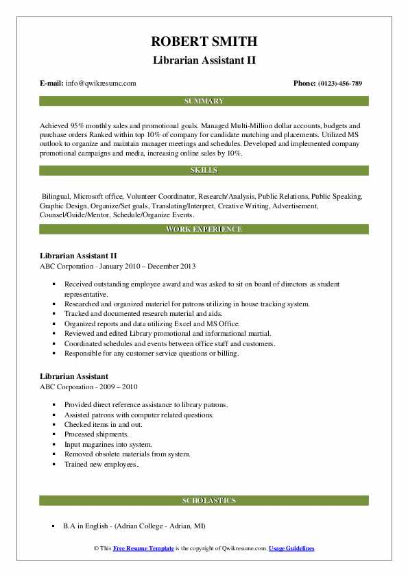 Librarian Assistant II Resume Format