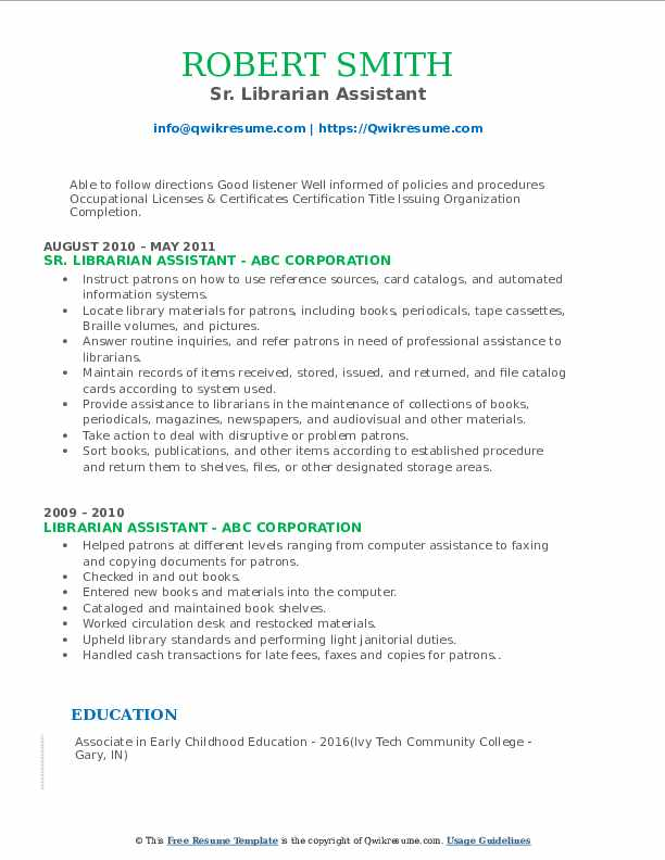 Sr. Librarian Assistant Resume Template