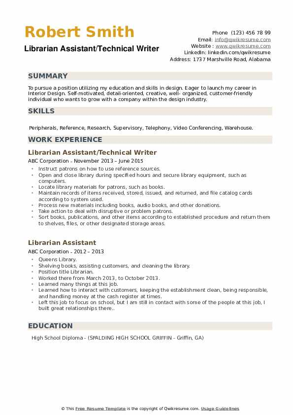 Librarian Assistant/Technical Writer Resume Format