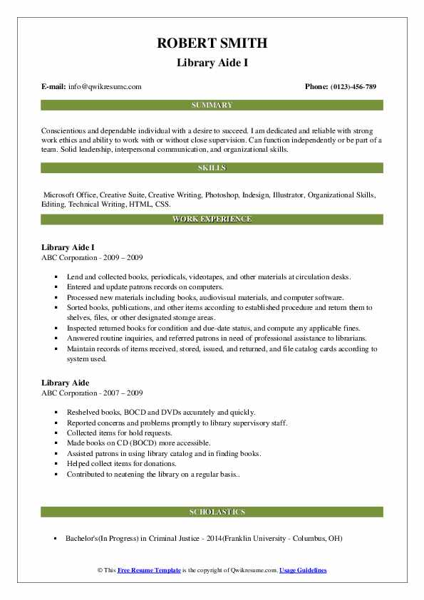 Library Aide I Resume Format
