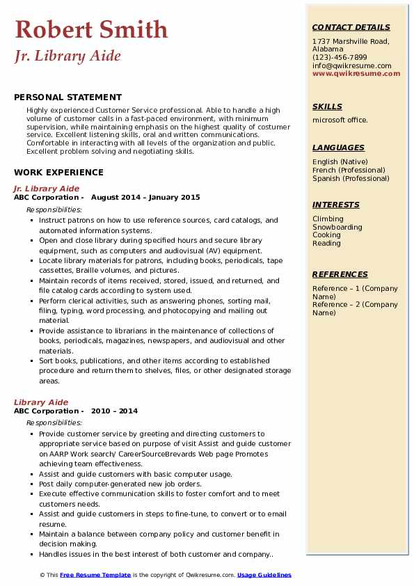 Jr. Library Aide Resume Template